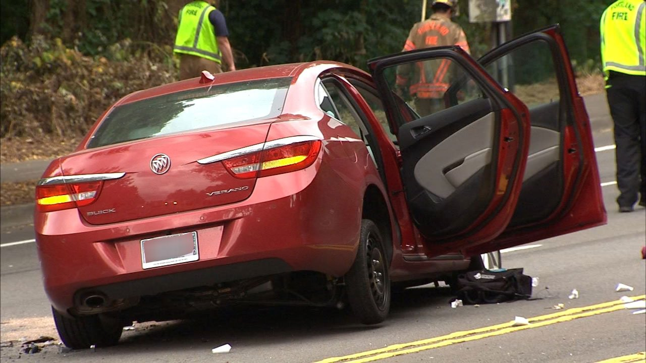 According to police, the driver of a maroon Buick hit a motorcycle near SW 3rd Ave. and Madison St. then fled, hitting three more vehicles minutes later at SW Barbur Blvd and Hamilton St. (KPTV)