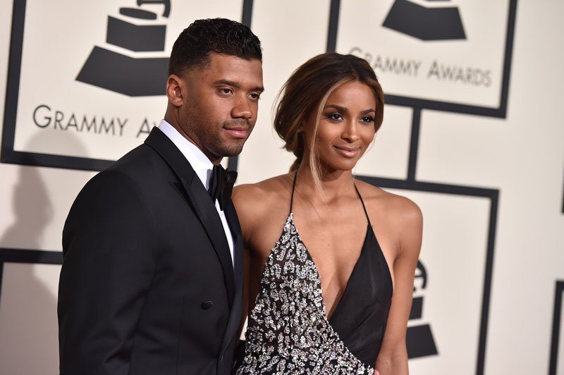 Seattle Seahawks quarterback Russell Wilson, left, and Ciara arrive at the 58th annual Grammy Awards at the Staples Center on Monday, Feb. 15, 2016, in Los Angeles. (Photo by Jordan Strauss/Invision/AP)