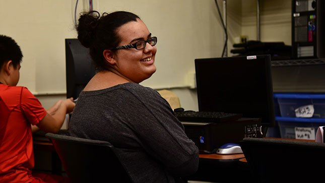 Kayla Wilson received a free computer through a Multnomah County/Free Geek partnership. (Photo: Jessica Morkert-Shibley)
