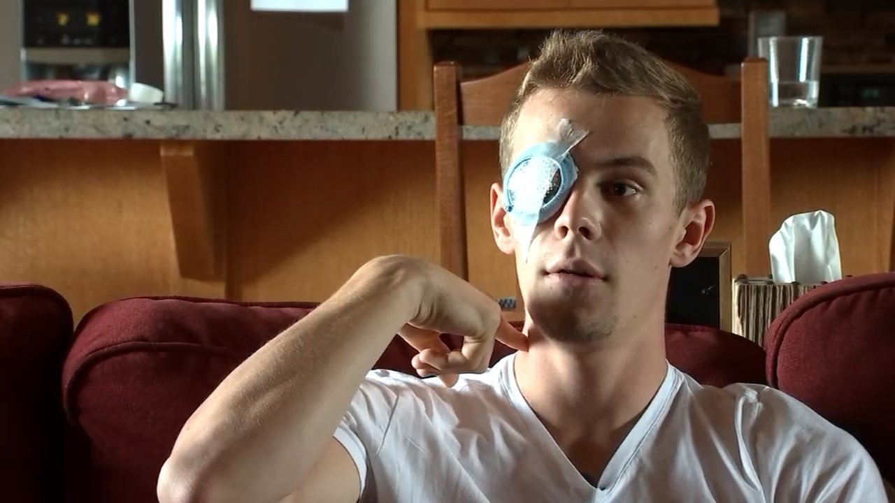 Parker Kennedy's eye was pierced by a javelin in a freak accident at a track and field event. (Image: KPTV)