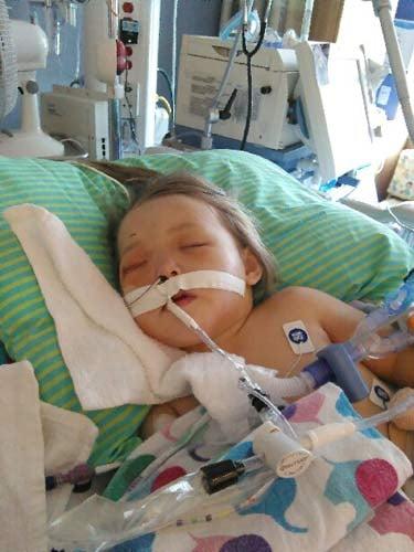 Photo of critically injured 2-year-old girl Trinity. (Family photo/KPTV)