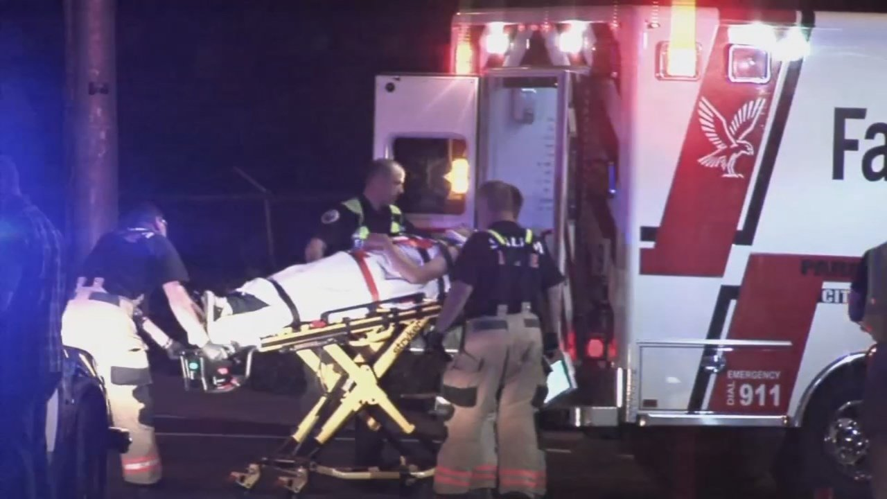 Evan Duvall being taken to the hospital following a hit-and-run crash Saturday. (Source: KPTV)