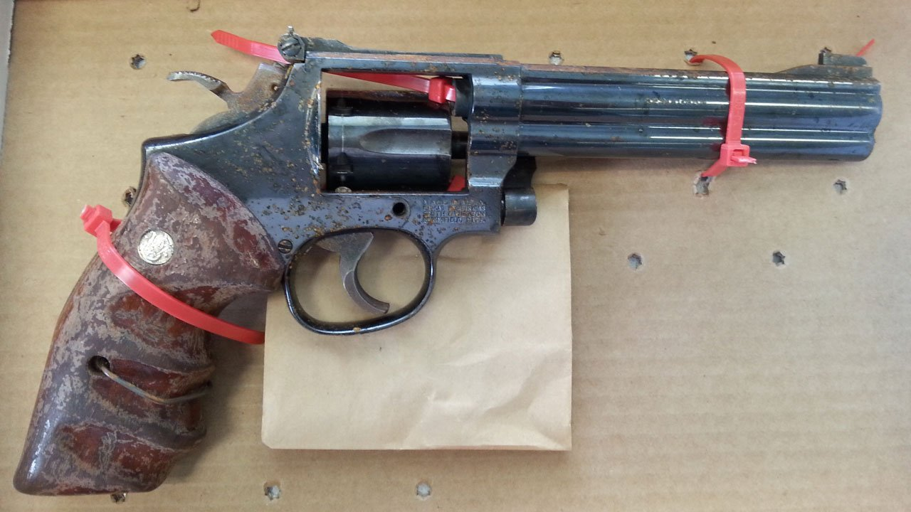 Two brothers found a loaded Smith and Wesson Model 16-4 .32 Magnum while playing the mobile game Pokemon GO, according to the Clark Co. Sheriff's Office. (Clark Co. Sheriff's Office)