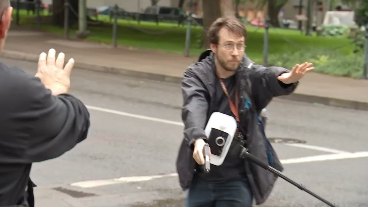 Michael Strickland at Black Lives Matter rally in Portland. (Source: KPTV)