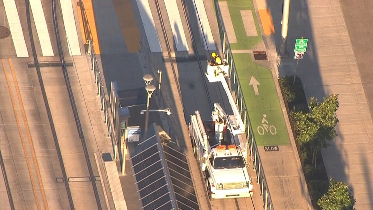 TriMet crews were working to repair damage to overhead electrical wires on the MAX Orange line which was leading to delays Thursday. (KPTV)