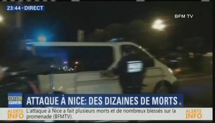 Emergency services respond after a truck plows into crowds in Nice, France. (Source: BFM TV)