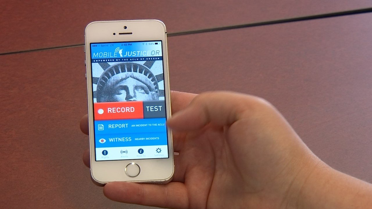 Developers of the ACLU Mobile Justice app say the tool allows users to record video, submit incident reports of something they witnessed and alerts users when someone else has activated the app nearby. (KPTV)