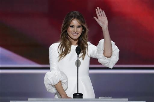 Melania Trump, wife of Republican Presidential Candidate Donald Trump waves as she speaks during the opening day of the Republican National Convention in Cleveland, Monday, July 18, 2016. (AP Photo/J. Scott Applewhite)