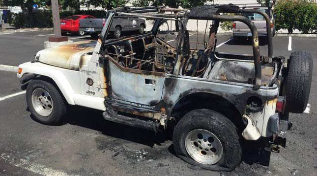 Jeep destroyed by arson fire in NW Portland. (Source: KPTV)