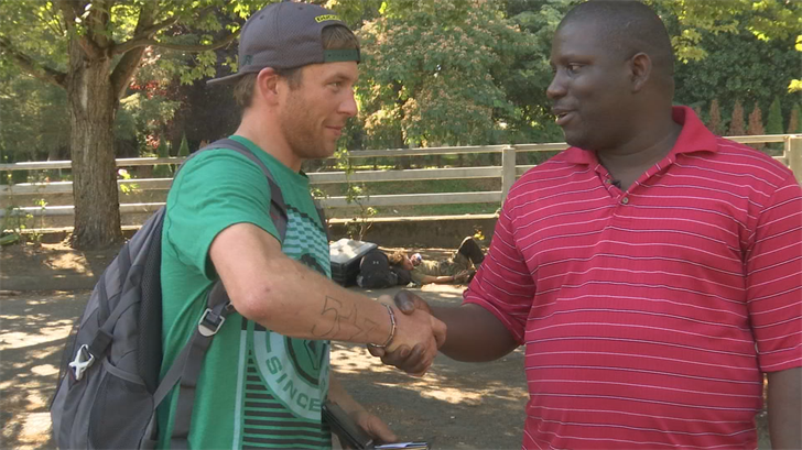 Homeless Services Specialist Newton Gborway (right)