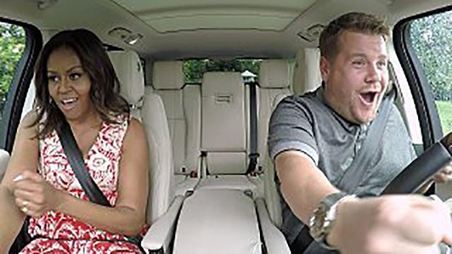 "Michelle Obama not only had her ""Carpool Karaoke"" with James Corden air on late night, but she also had a few stars over to her home on Wednesday. (Source: CBS)"