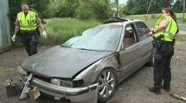 Ceferino Santos' car after hitting a 13-year-old boy and crashing into a ditch in Hillsboro in May. (Source: KPTV)