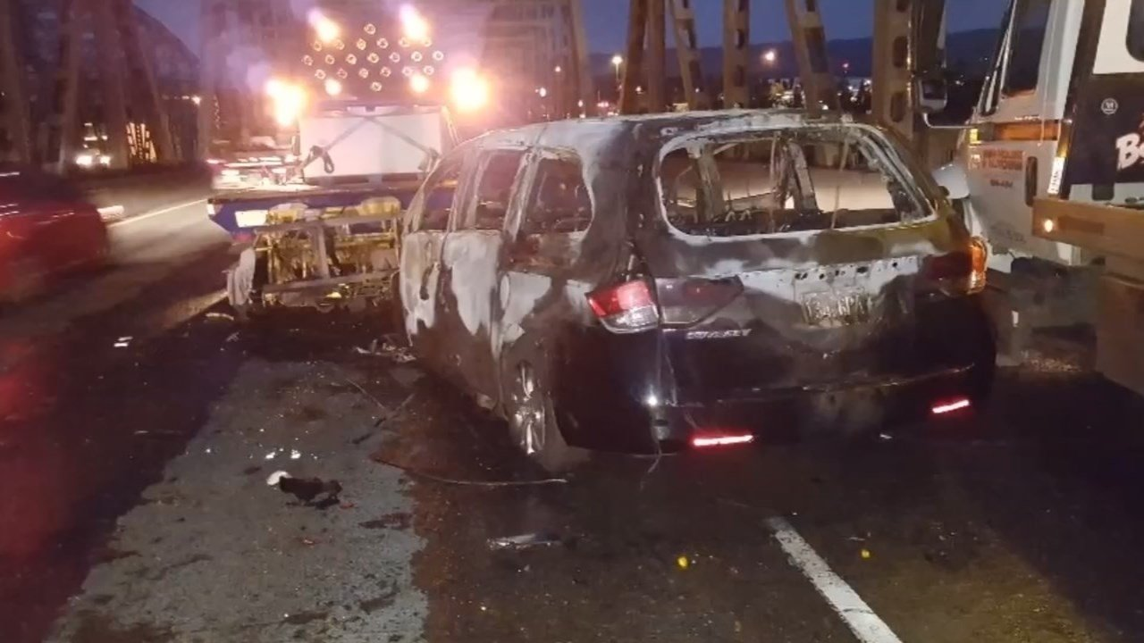 A woman and a baby were rescued from a burning van on the Interstate Bridge on Thursday. (Photo: ODOT)