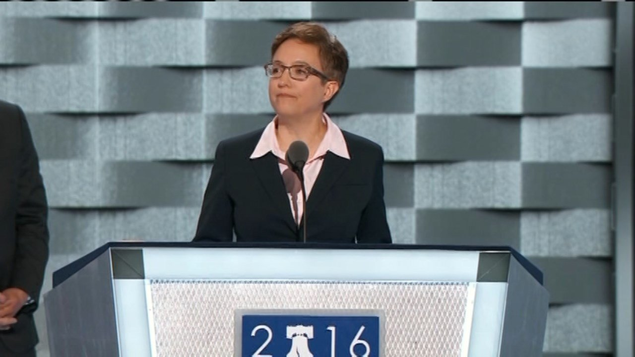Tina Kotek speaking at the Democratic National Convention on Monday. (KPTV)