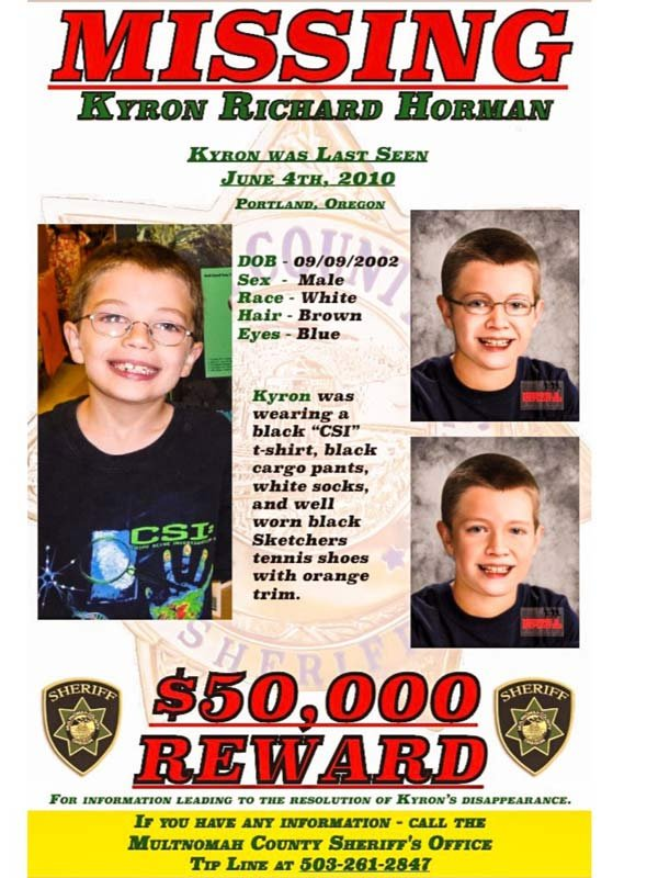 Missing poster for Kyron Horman.