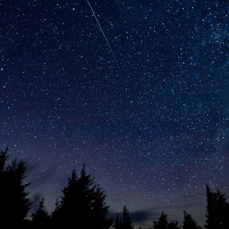 In this 30 second exposure, a meteor streaks across the sky during the annual Perseid meteor shower Thursday, Aug. 13, 2015, in Spruce Knob, West Virginia. (Photo: NASA/Bill Ingalls)