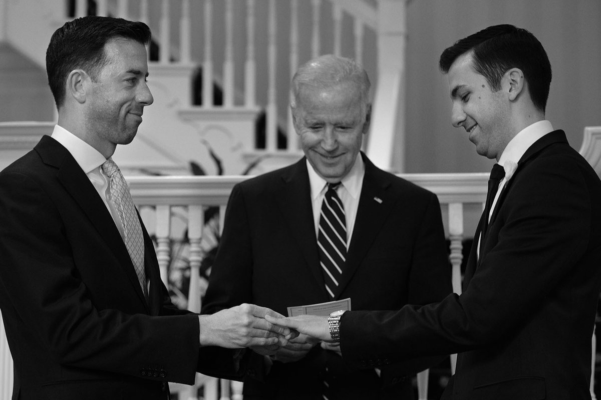Proud to marry Brian and Joe at my house. Couldn't be happier, two longtime White House staffers, two great guys. (VP Joe Biden- Twitter)