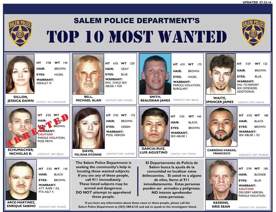 Salem Most Wanted Poster (Source: Salem PD)