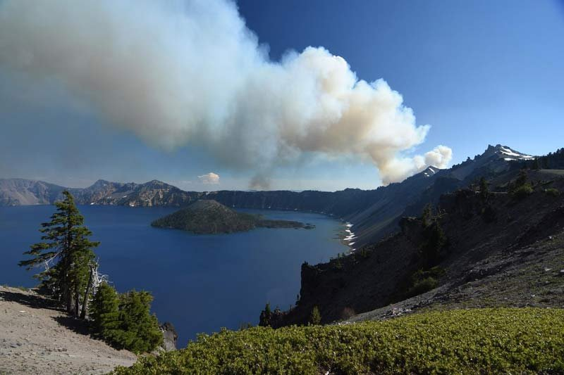 Bybee Creek Fire at Crater Lake. Photo: U.S. Forest Service.