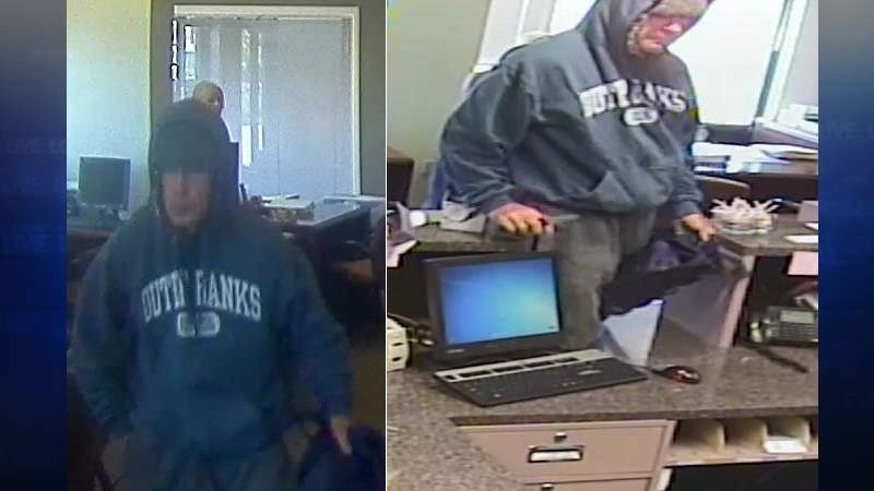 Surveillance images of Albina Community Bank robbery suspect. (Photos: Crime Stoppers of Oregon)