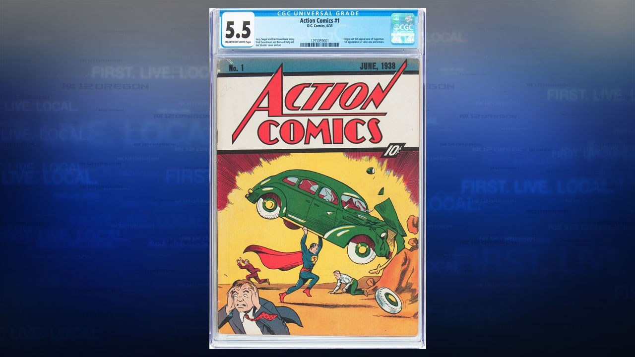 "This rare copy of ""Action Comics"" #1 featuring the first appearance of Superman topped the $750,000 estimate at auction Thursday, going for a final price of $956,000. (Heritage Auctions)"
