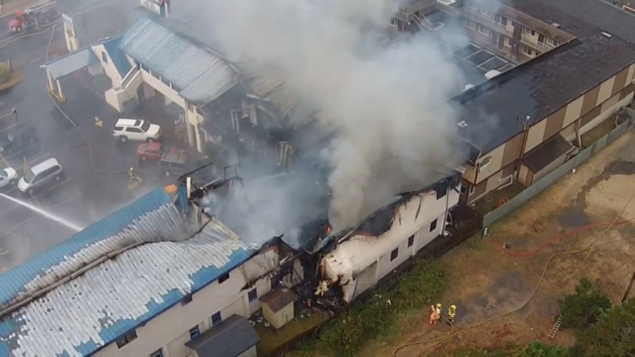 Drone footage shows the efforts of fire crews working to put of the blaze at the City Center Motel in Newport Friday which claimed the lives of four people. (photo courtesy of Ed McVea)