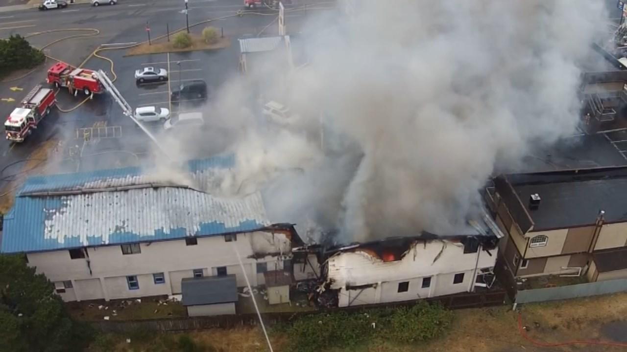City Center Motel fire in Newport. (Image: KPTV)