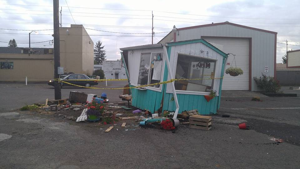 Photos posted early Sunday morning show the damage at the Speedy Espresso Coffee Stand after police say a truck slammed into it early that morning. (photo courtesy Megan Read)