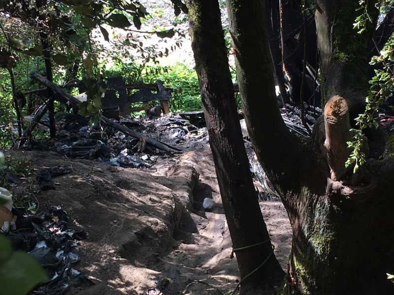 Fire destroyed several tents at a homeless camp near NE 11th Ave. and Lloyd Blvd. in Portland