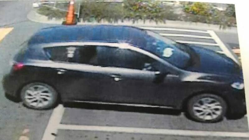 Surveillance image of Richard Perkins' car at Walmart in Coos Bay on Friday.  (Photo released by Coos County District Attorney's Office)