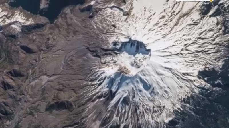 Mount St. Helens, as seen from the International Space Station (Screen grab from Facebook/NASA Astronaut Jeff Williams)