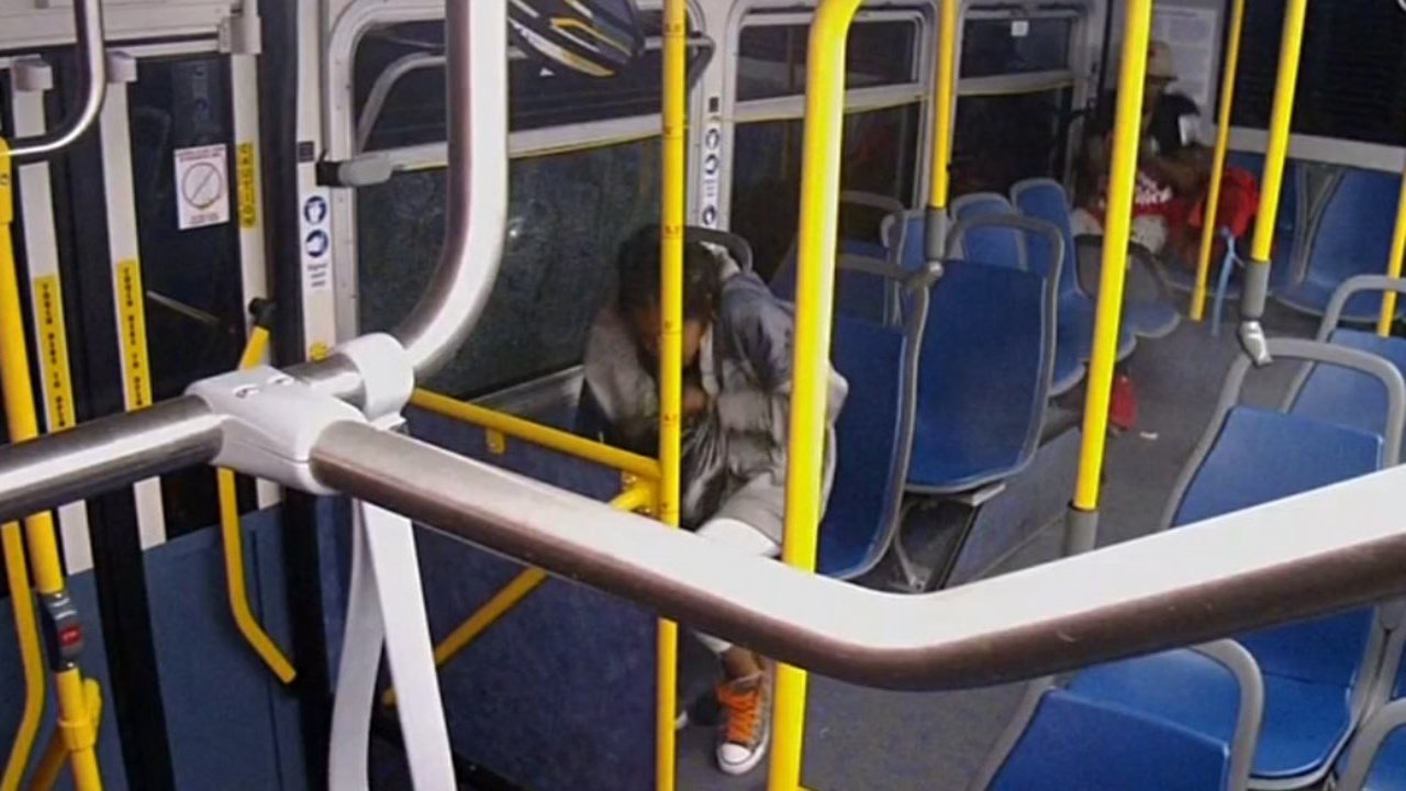 Surveillance video captured the bullet narrowly missing a teenage girl sitting on the TriMet bus (Photo: TriMet)