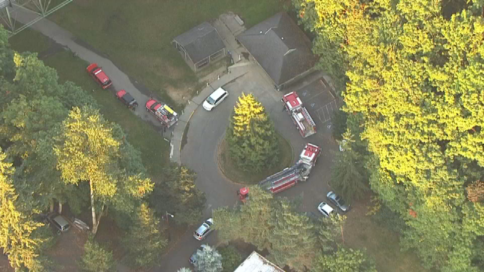 Air 12 over scene of grass fire at Northwest 29th Avenue. (KPTV)