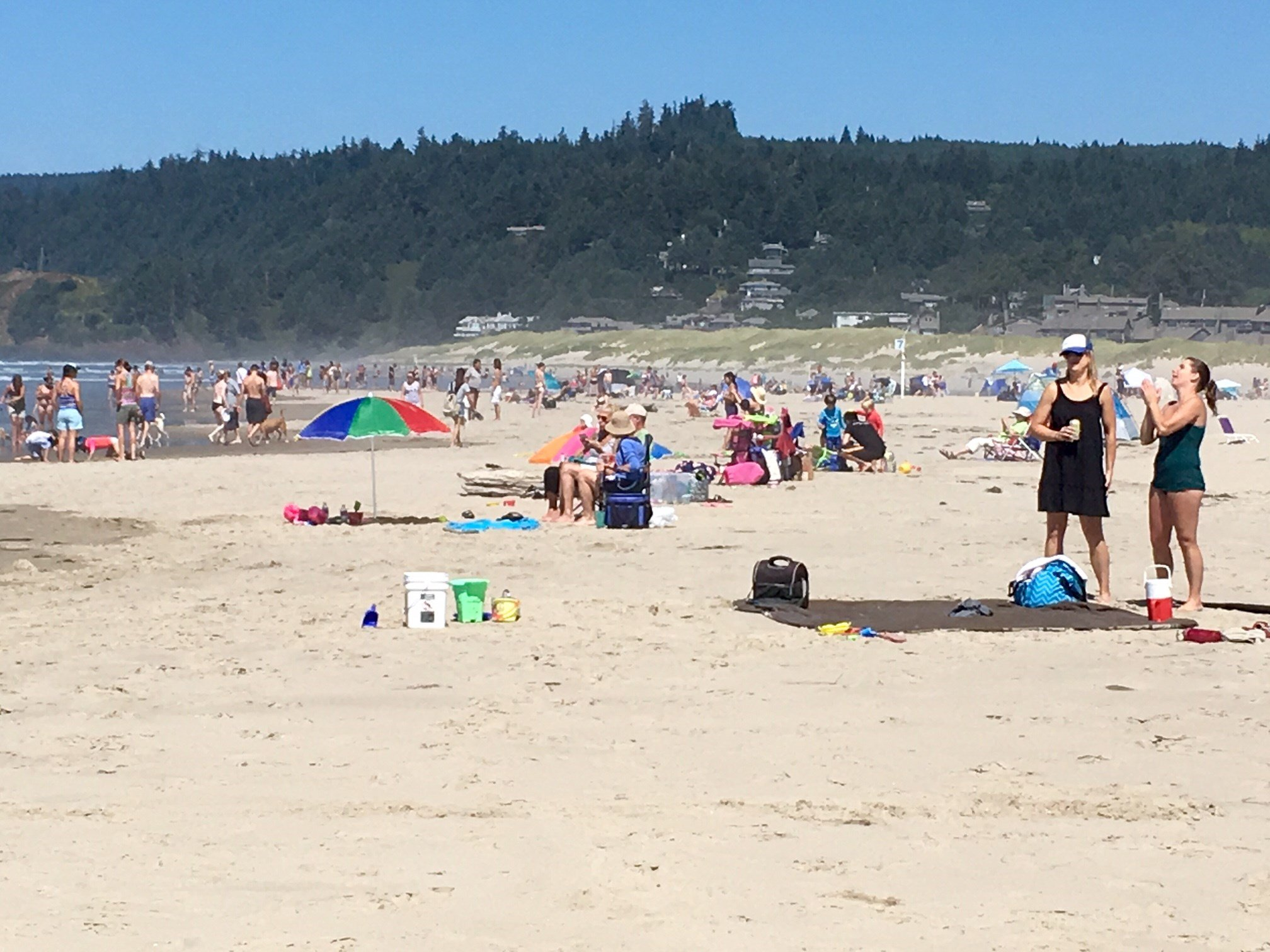 A crowd of people on the sand in Cannon Beach Friday.