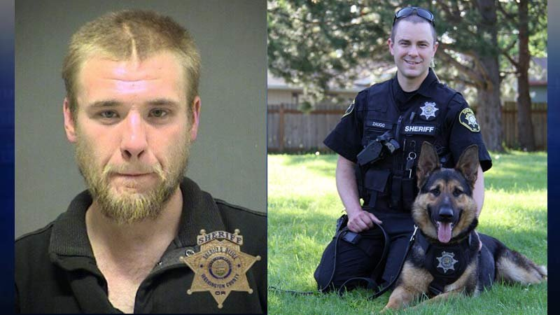 Joshua Dow jail booking photo on left; Deputy Michael Zaugg and K-9 Chase on right (Photos: Washington County Sheriff's Office)