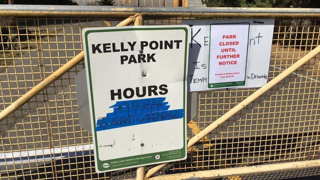The gate at Kelley Point Park was temporarily closed Monday after two drownings in less than two weeks. (KPTV)