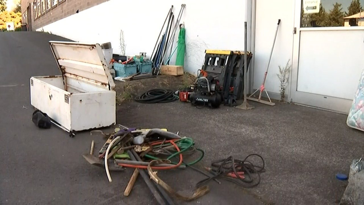The pastor of Central Bible Church in Portland is asking neighbors to take a look at items left in the back of the church's stolen trailer which was returned over the weekend. (KPTV)