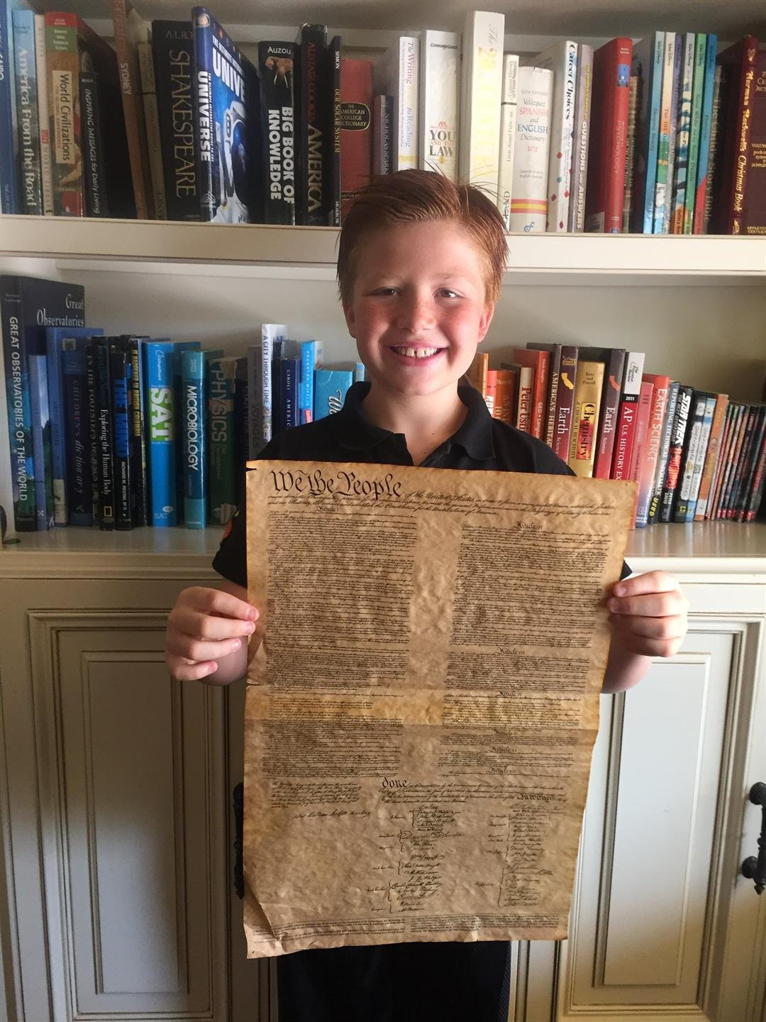 Nathan Bond, 10-year-old from Fresno, California, found time to memorize the entire US Constitution summer of 2016.