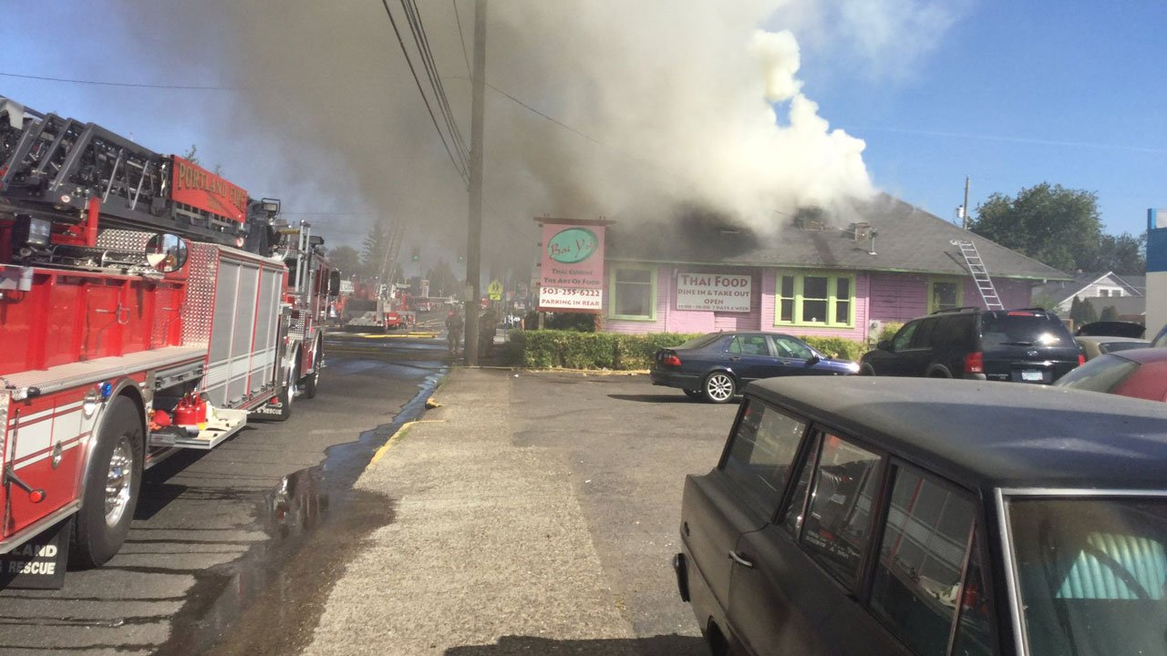 PF&R responded to the scene of a 2-alarm fire at the Bai Yok Thai restaurant in NE Portland Thursday (Portland Fire & Rescue)