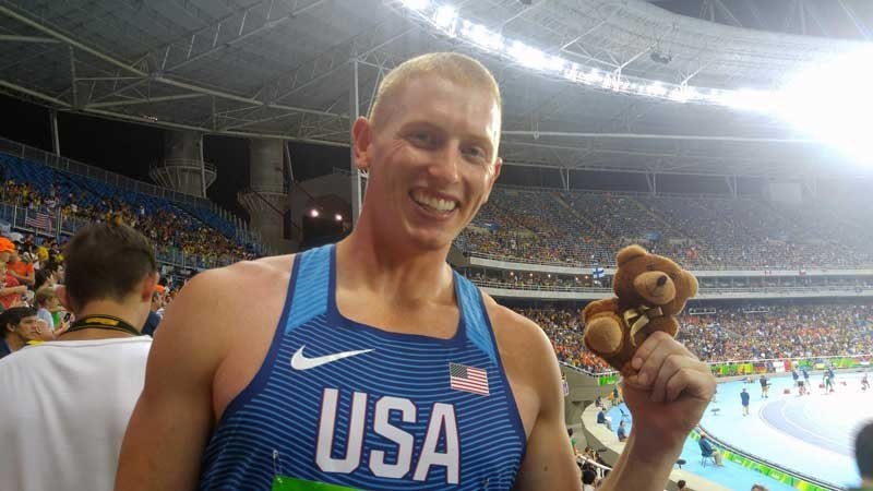 Tuesday the Bear with Olympian and Newberg High School grad Cyrus Hostetler (Photo: The Kelly Group)