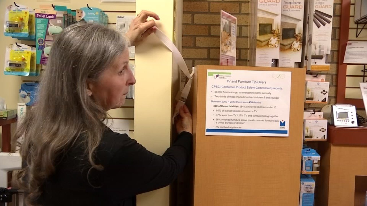 Randall Children's Hospital Health Educator Jan Berichon said that any furniture 30 inches or taller that is intended to hold clothing is supposed to come with anchoring devices. (KPTV)