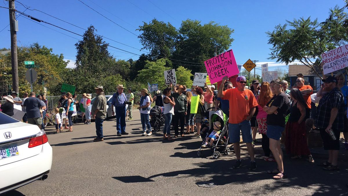 Residents of the Lents neighborhood, upset and frustrated over the homeless population, protested Saturday. (KPTV)