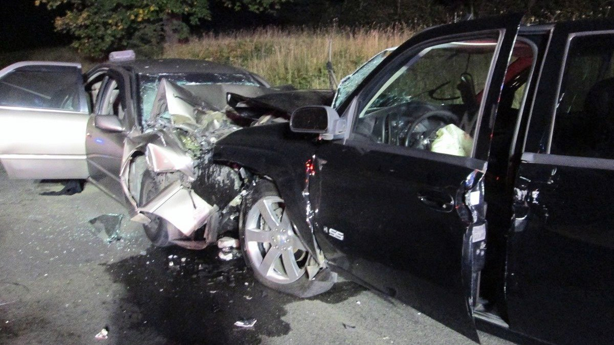 The Oregon State Police say that a Toyota Camry crossed the centerline on Hwy 99W near Lafayette and crashed head-on into a Chevrolet Trailblazer early Sunday morning. (Oregon State Police)