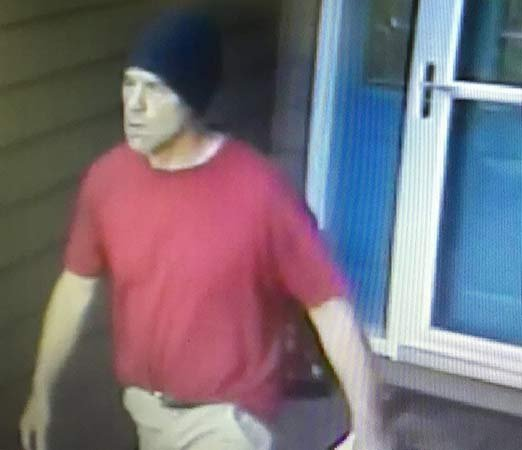 Surveillance image of man who has thrown apples on rooftops of homes in the Vancouver area. (Image released by Clark County Sheriff's Office)