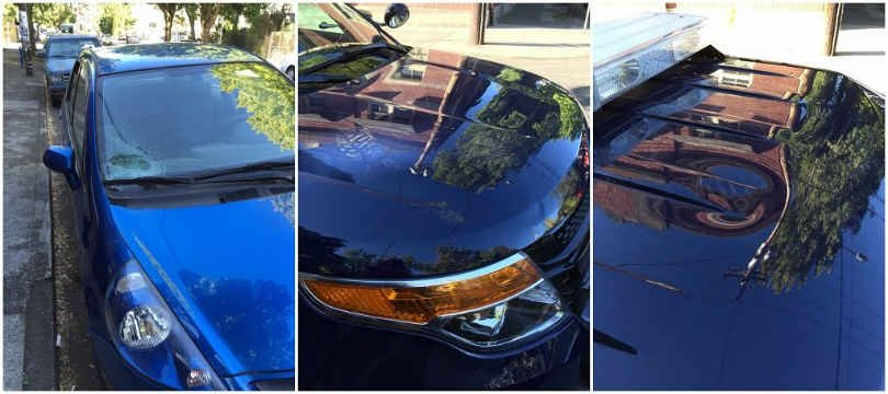 Damage to a parked car, foot print on the hood of a police car and damage the police car roof. (Courtesy of the Portland Police Bureau)