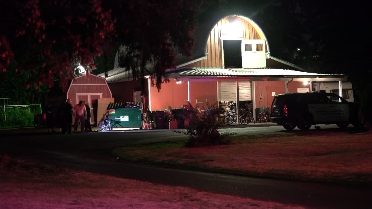 Shooting scene early Monday morning at Sanctuary Church in Gresham. (KPTV)