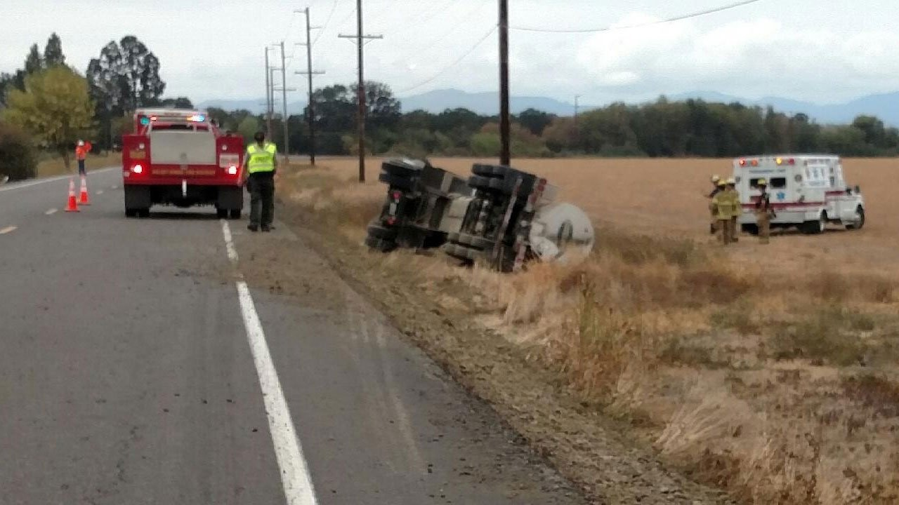 Deputies said the tanker was the only vehicle involved with the incident Thursday. (Linn Co. Sheriff's Office)