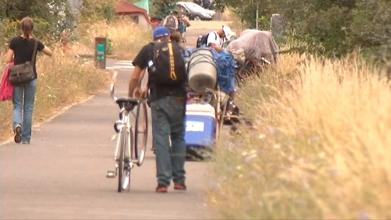 Crews said they filled a 40-yard dumpster during the sweep of the homeless camps along the Springwater Trail Thursday. (KPTV)