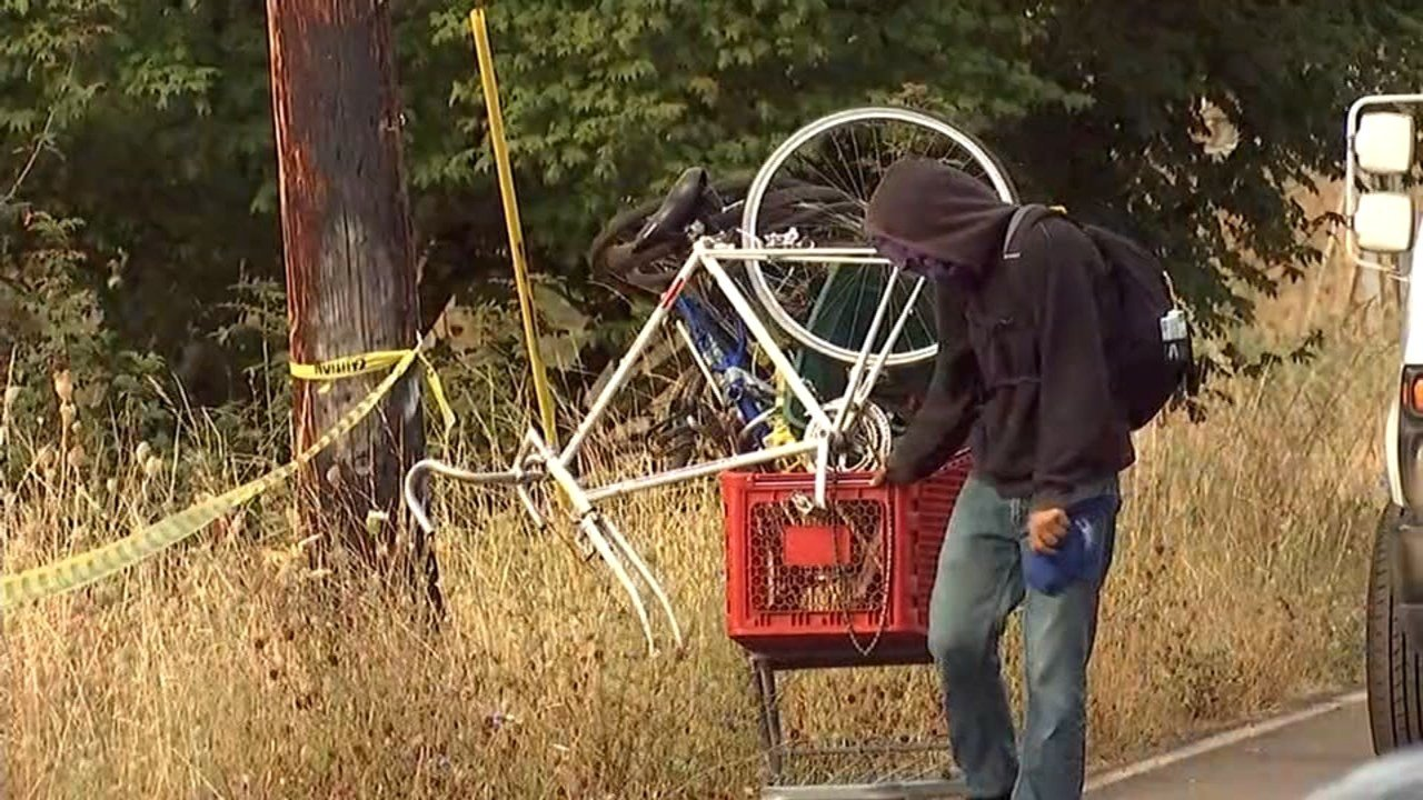 The remaining homeless campers who were living along Springwater Trail had to relocate Thursday as police and park rangers swept the area. (KPTV)