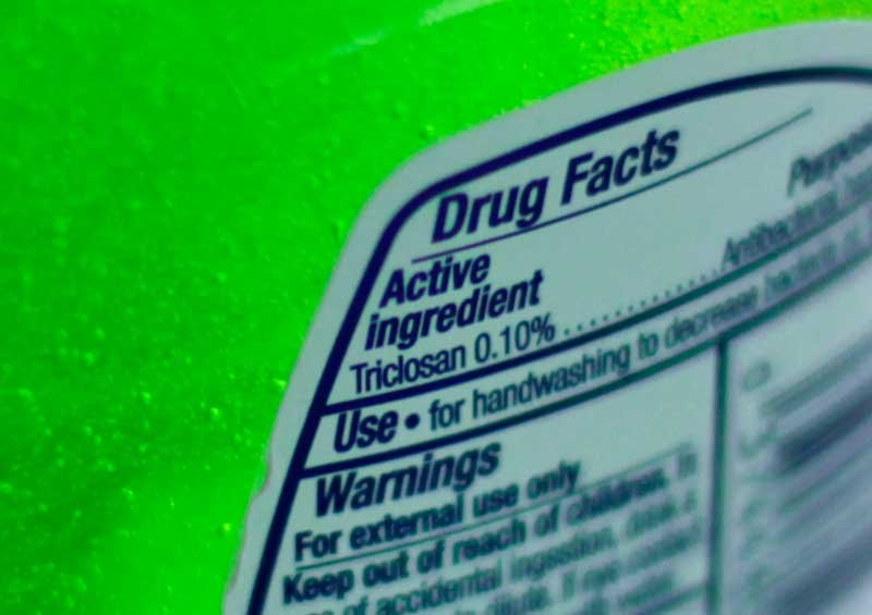 This Tuesday, April 30, 2013 file photo shows the label of a bottle of antibacterial soap in a kitchen in Chicago. (AP Photo/Kiichiro Sato)